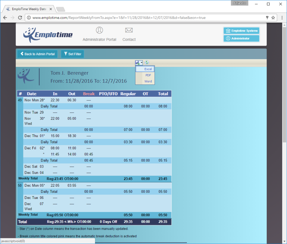 Weekly reports can be generated in Emplotime and exported in multiple formats