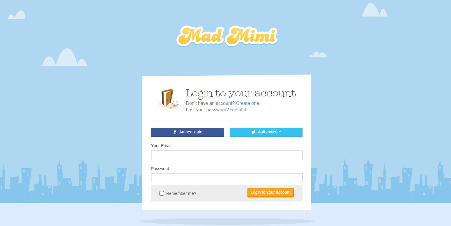 Mad Mimi Software - Login page