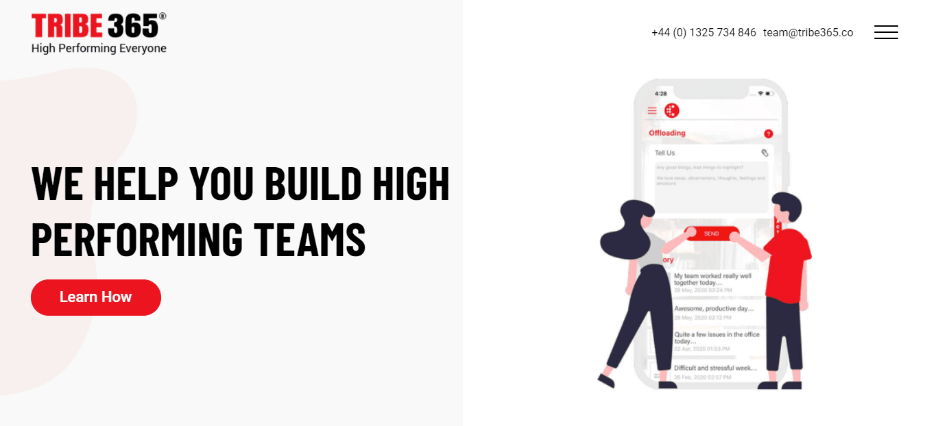 The Homepage of Tribe365, it is a tool that every workplace should use to increase the level of productivity among their employees and team. It also plays a significant role in making working environment friendly to the employees.