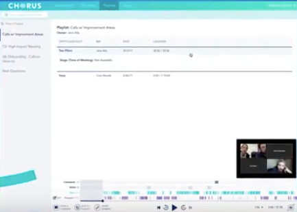Call recordings can be organized into playlists including calls with improvement areas, calls for on-boarding, and more