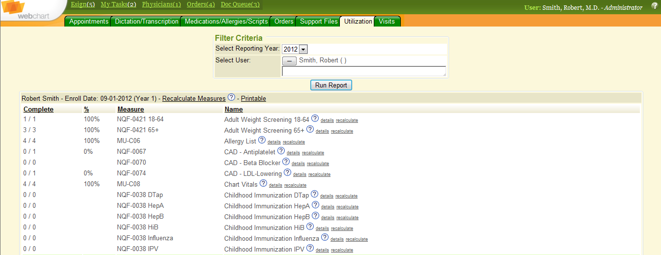 Meaningful Use Tracker - Administrative Dashboard