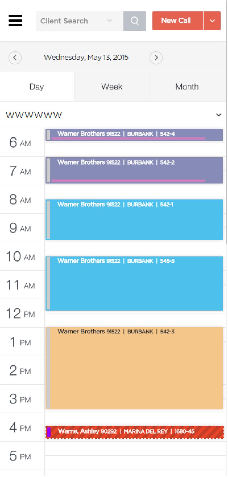 Vonigo Software - Phone - Day Schedule