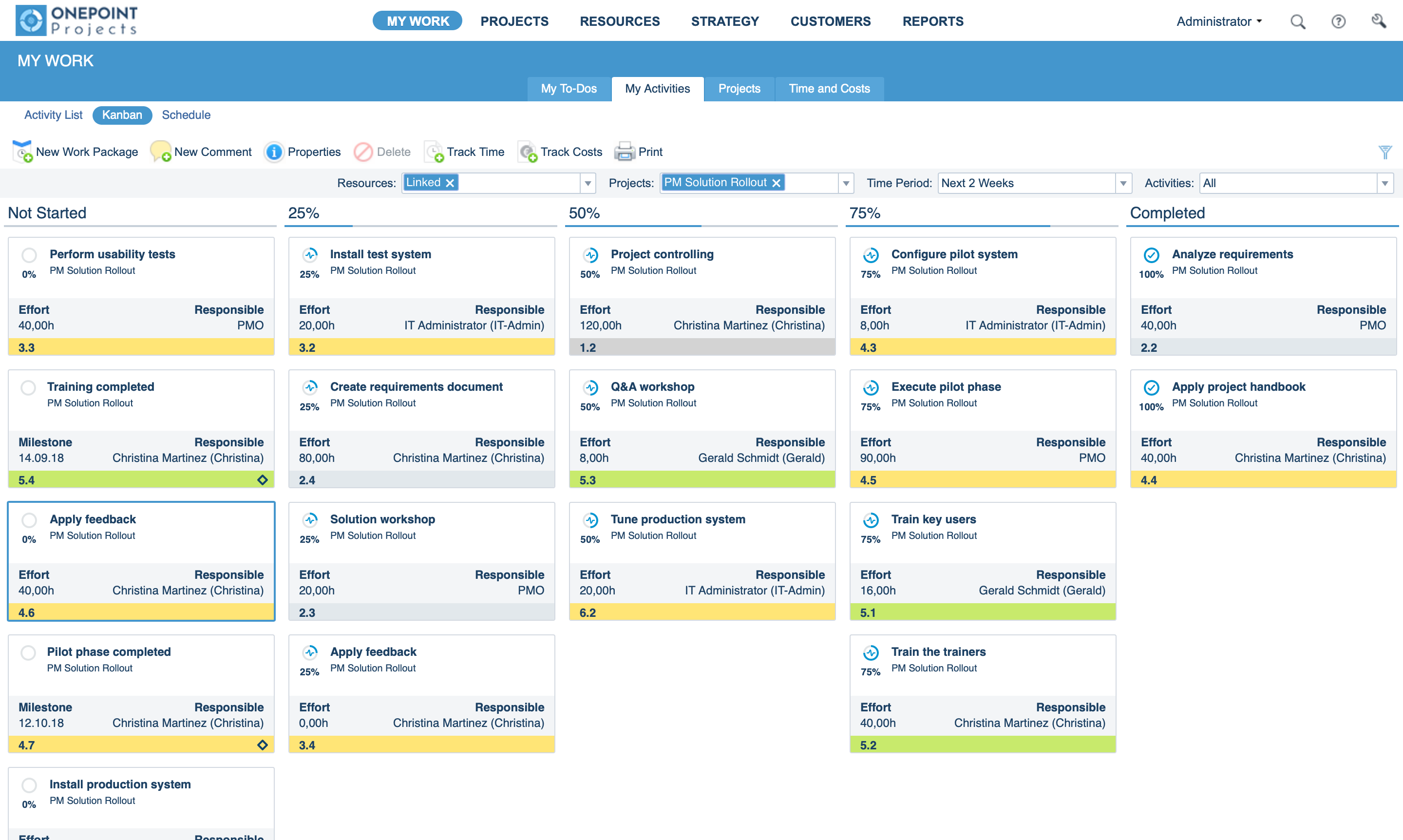 Kanban board for your project activities