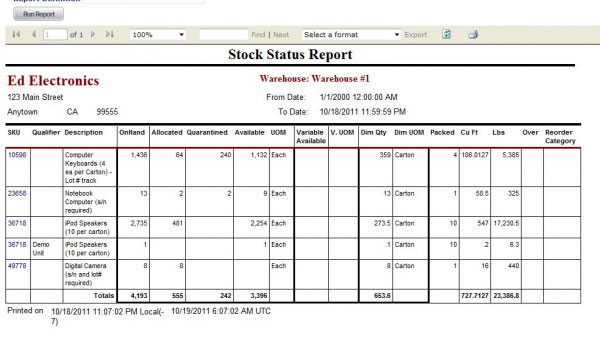 Inventory reports - 3PL Warehouse Manager
