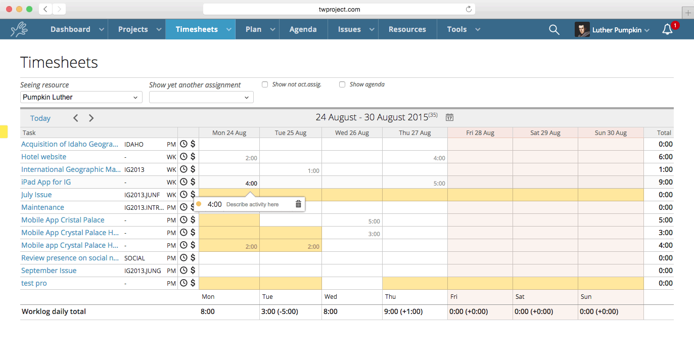 Twproject time tracking dedicated page