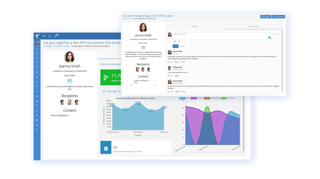 Talentia HCM Software - Social & Collaboration Software. An innovative solution to make collaboration and communication work more fluidly and dynamically. Talentia Social & Collaboration is designed to help start constructive conversations, enable openness and transparency.
