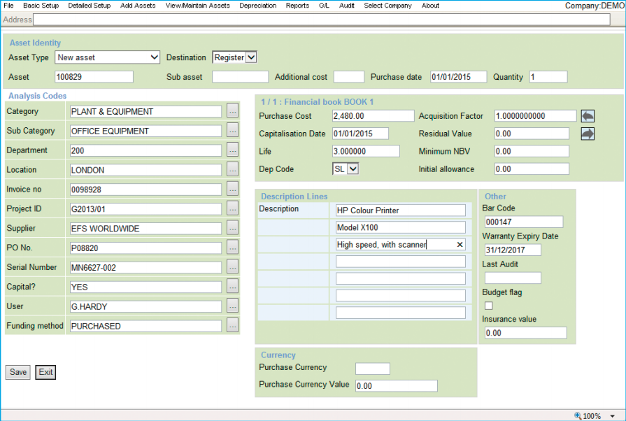 FMIS Asset Management includes customizable data fields, and supports barcode scanning