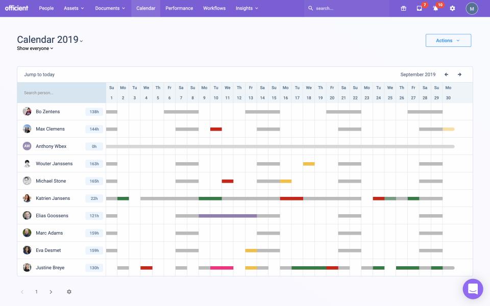 Absences calendar
