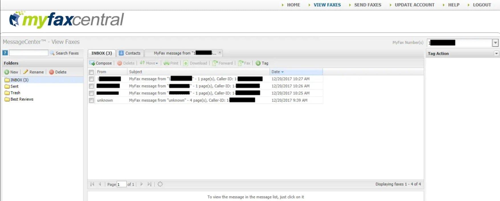 MyFax Software - MyFax fax inbox