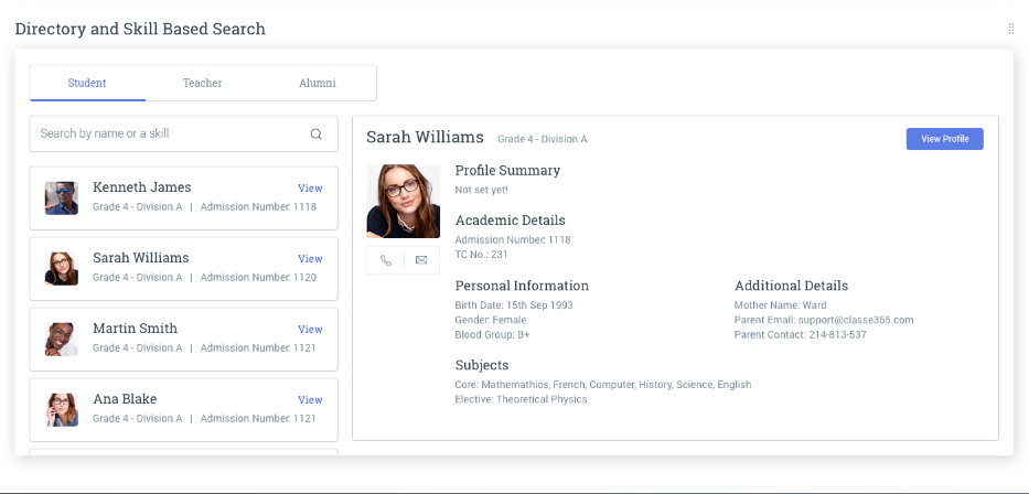 Teachers, students, and alumni can be searched for by name or skills