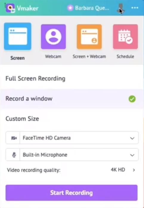 Vmaker screen recording