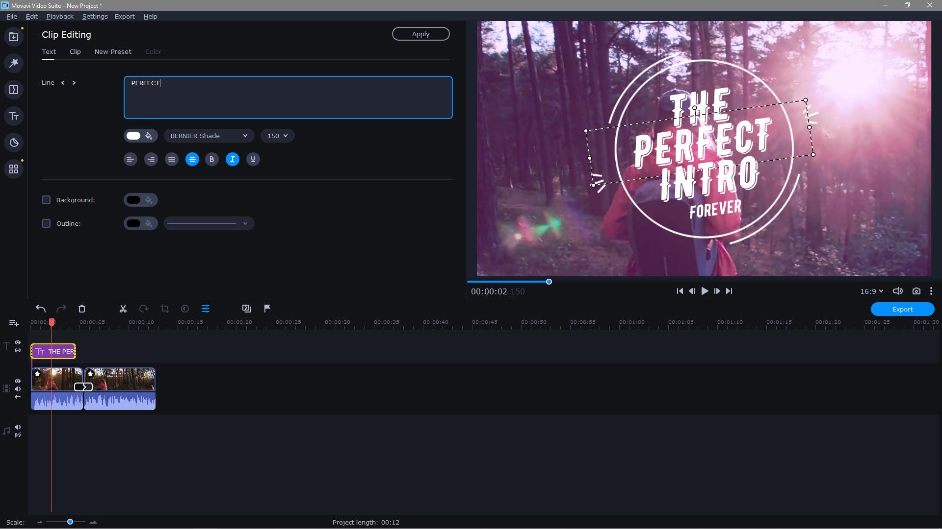 Movavi Video Editor Plus editing clips