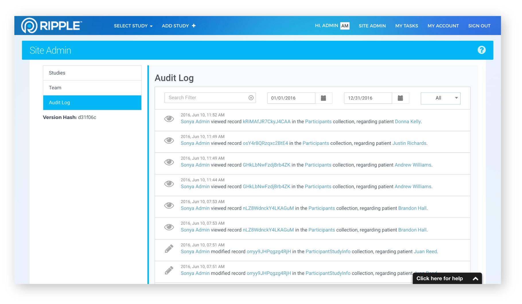 Ripple audit log screenshot