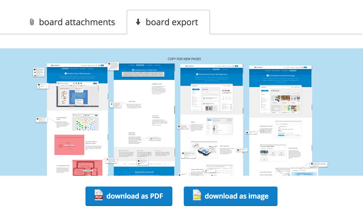 Conceptboard export board