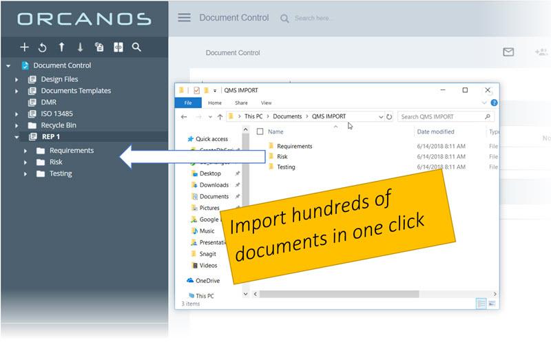 Orcanos import screenshot