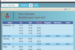 Emplotime screenshot: Users can also generate monthly reports, and view employees' total hours, breaks, and overtime