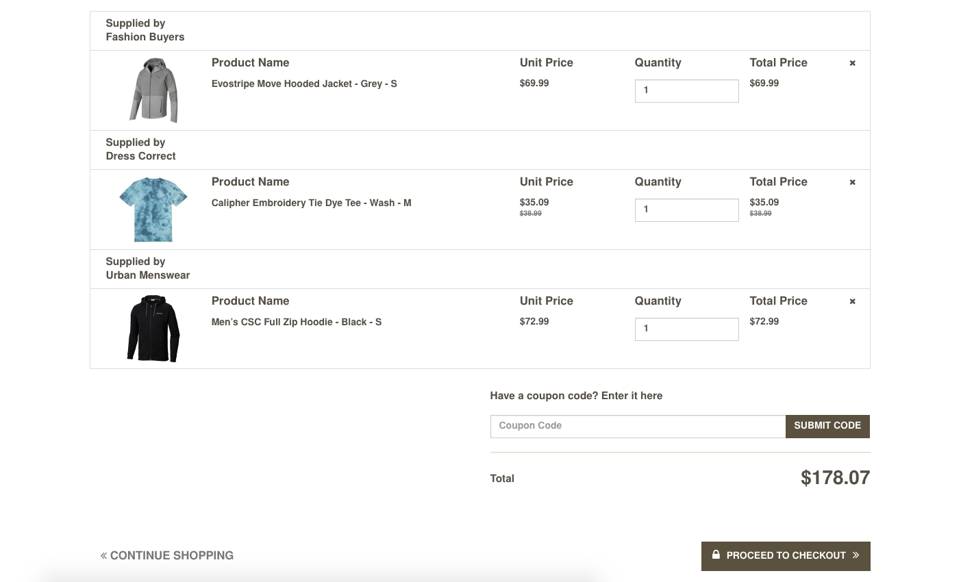 Order from multiple vendors in a single checkout.