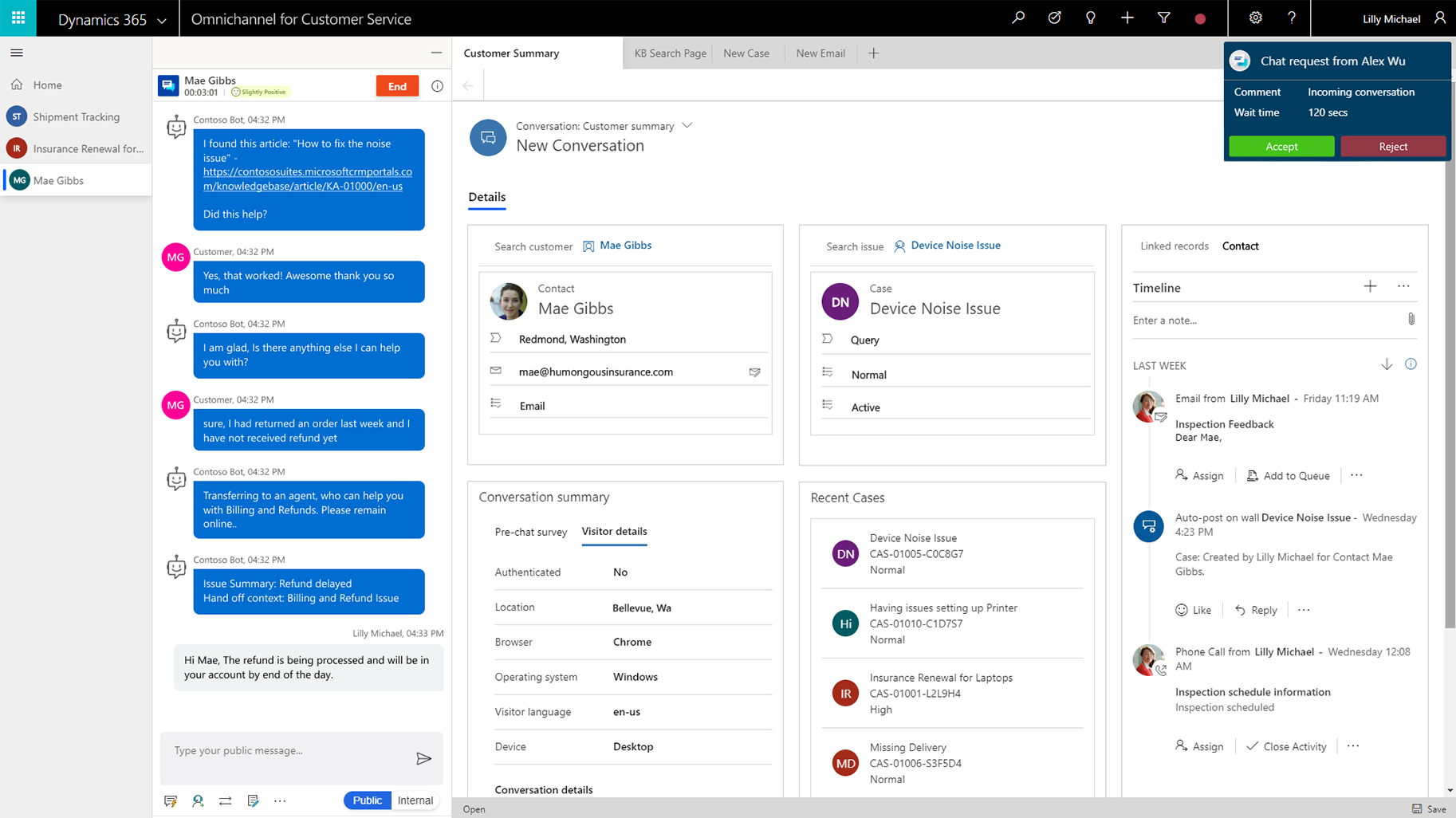Microsoft Dynamics 365 omnichannel customer service