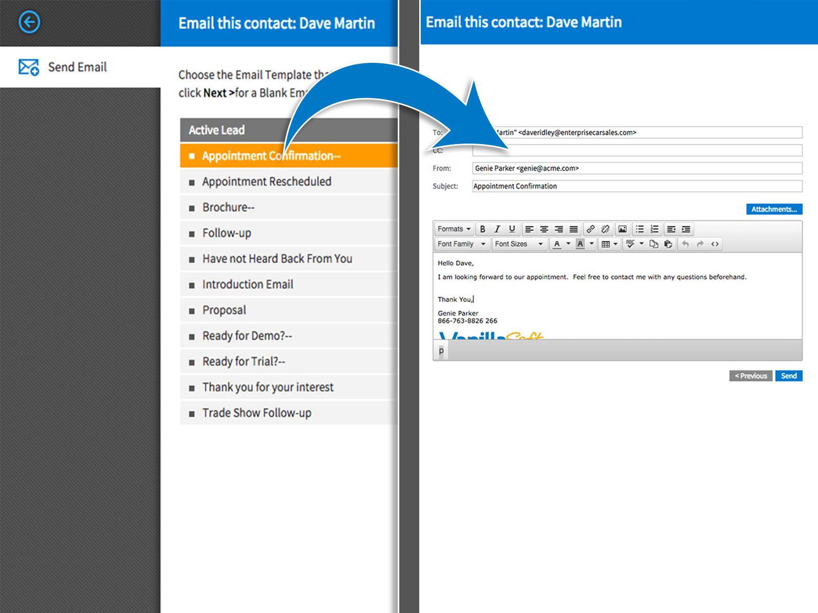 VanillaSoft Software - Emails