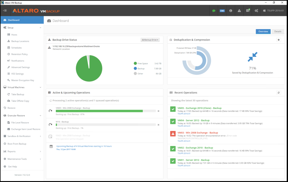 Altaro VM Backup screenshot: The dashboard provides users with an overview of ongoing backups, as well as upcoming and past operations