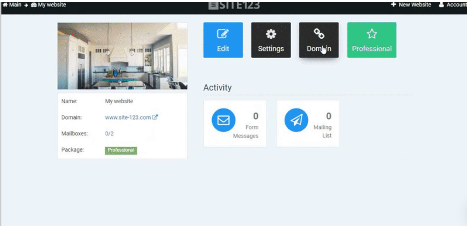 SITE123 user dashboard