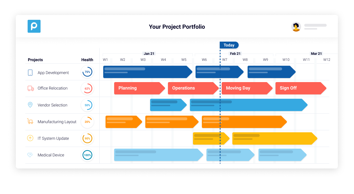 Proggio Software - Project Portfolio view on collaborative timeline with the health status of each project. Arrows are milestones. With one click on a project milestone you drill down into the details of all it's activities in a split screen that appears below.