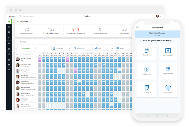 Vincere Pay & Bill: Time, leave & expense management with 2-way sync to Vincere ATS/CRM