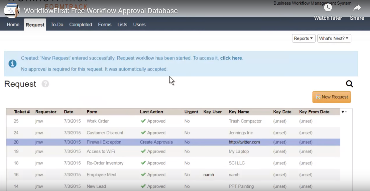 WorkflowFirst request tracking screenshot