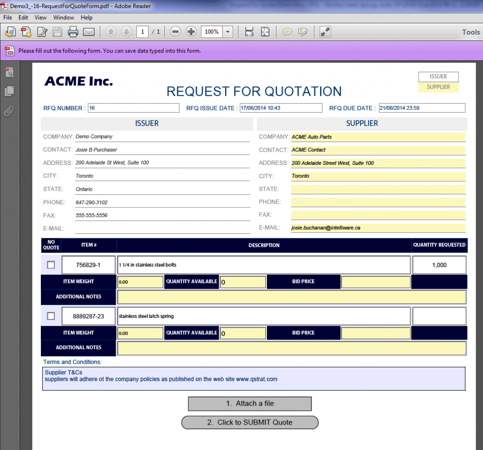 Fillable RFQ template