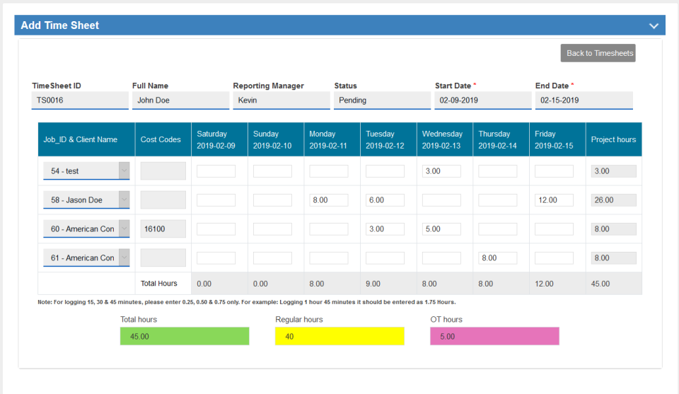 Time cards help managers monitor costs and overtime