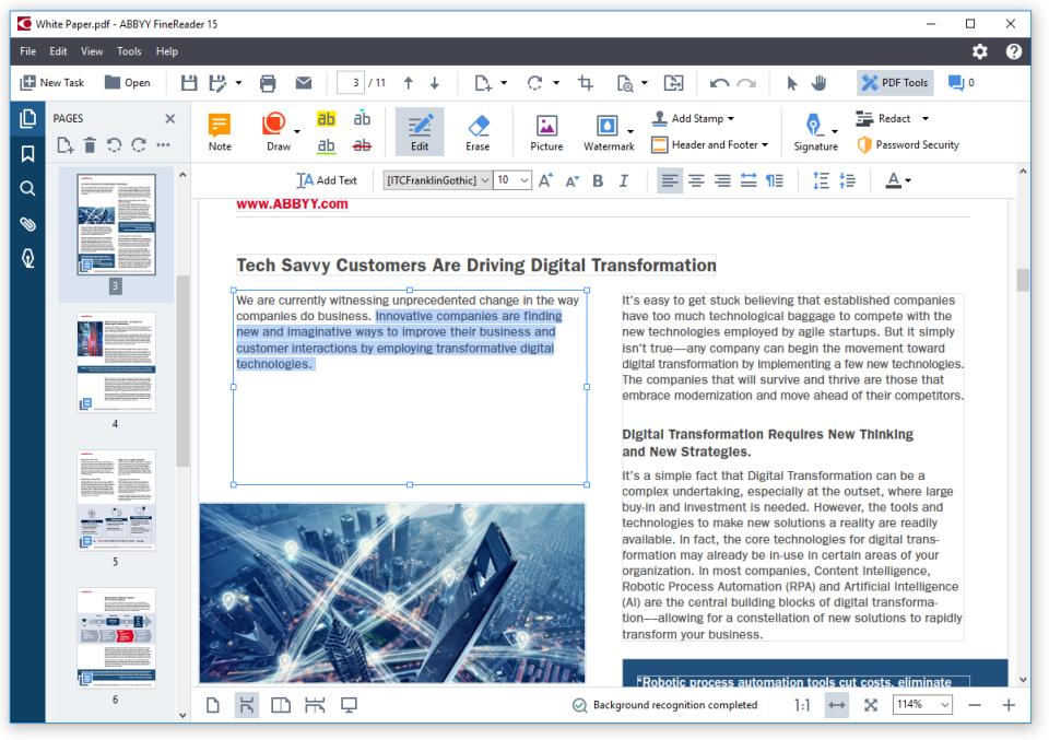 ABBYY FineReader PDF edit document