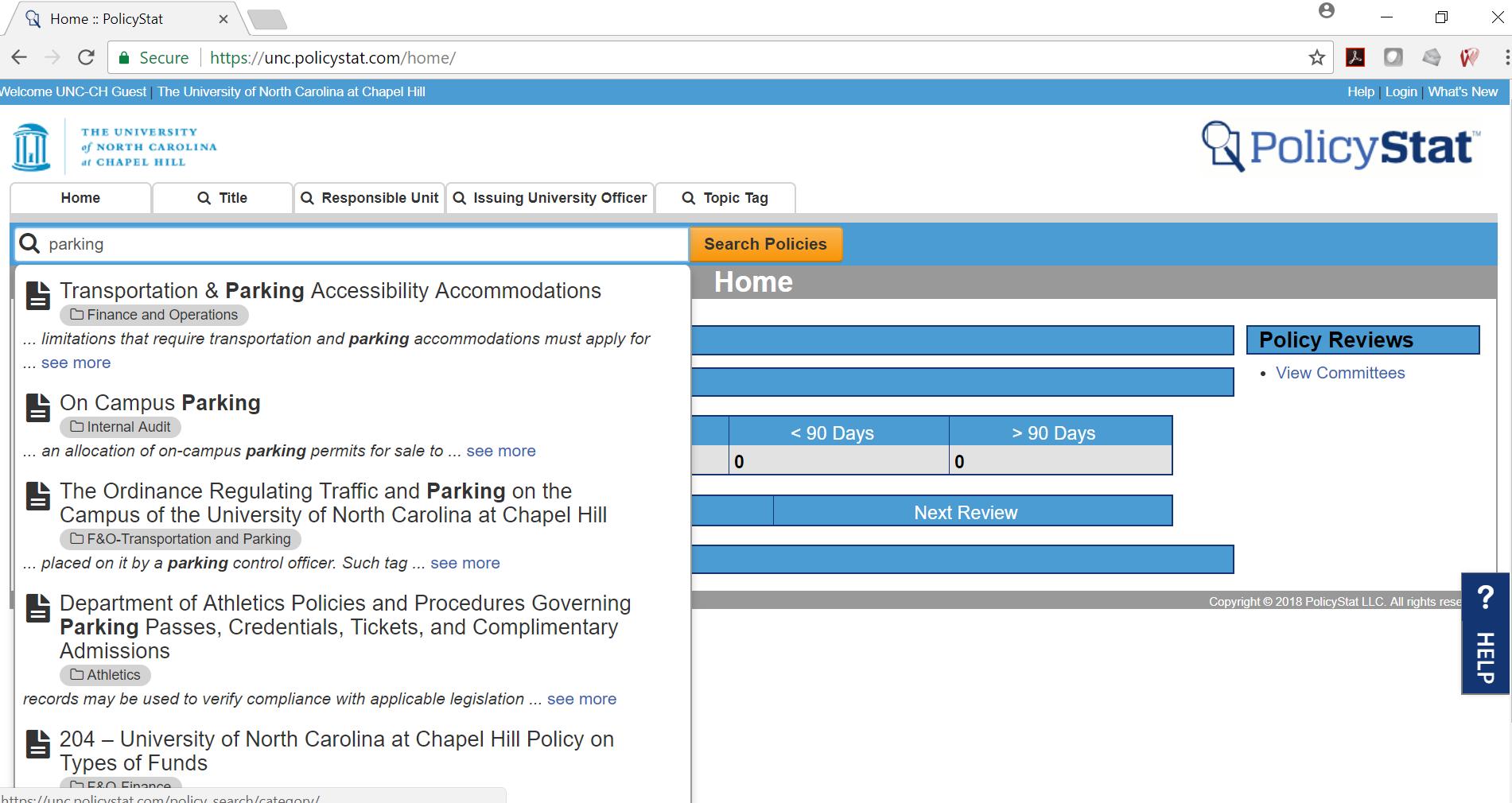 RLDatix Software - PolicyStat policy search screenshot