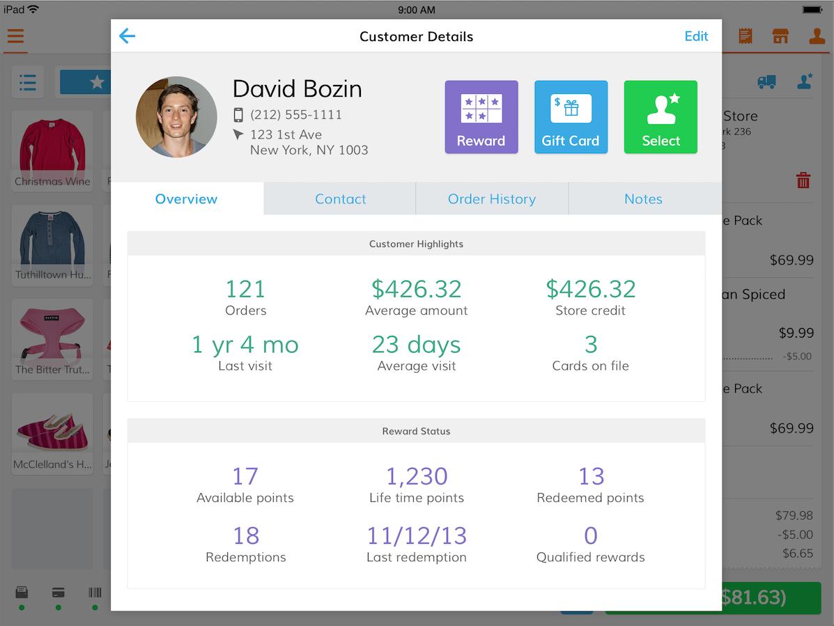 Bindo POS Software - Customer details