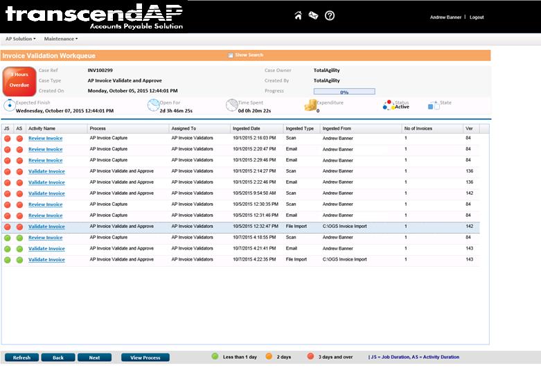 transcendAP invoice validation queue