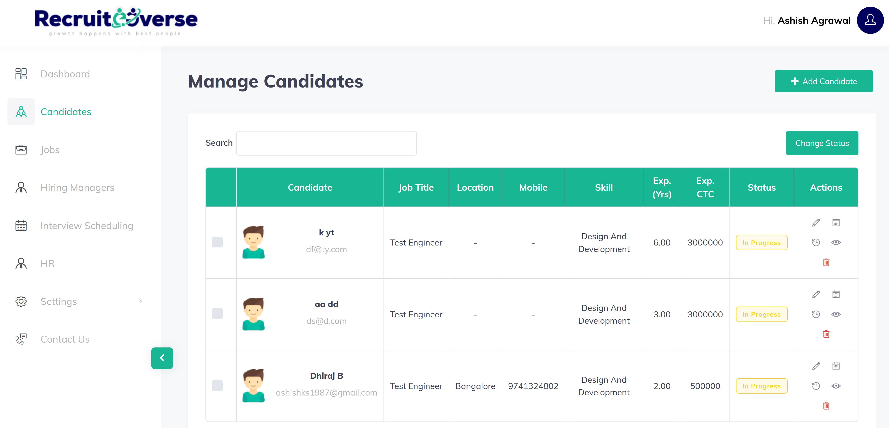 Recruiteeverse manage candidates