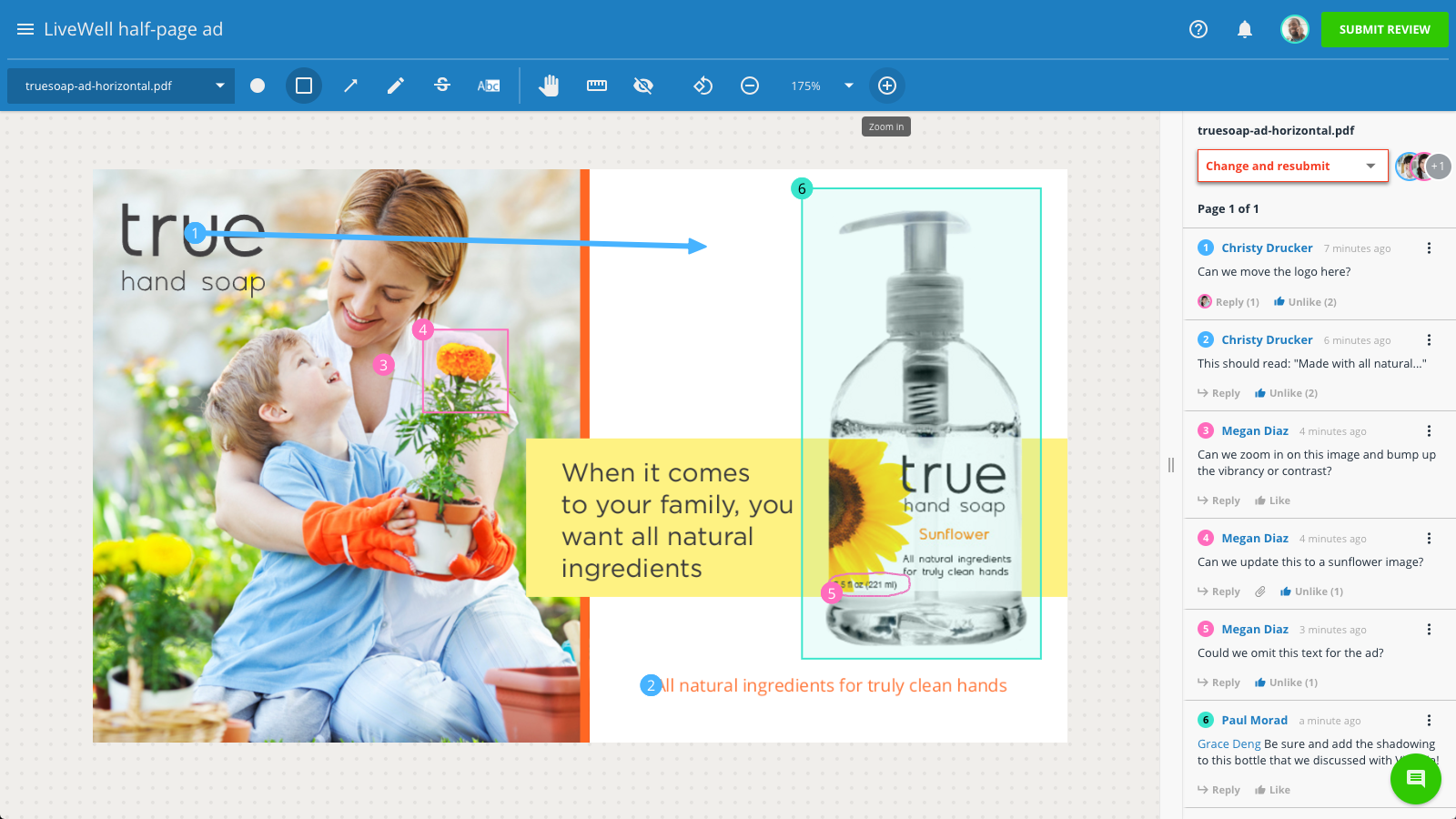 The Review + Approval portal allows you to easily mark up images, PDFs, videos, website, email & more. Draw, annotate, highlight, and comment to share feedback and collaborate. Reviewers can compare versions side-by-side and set their approval status.