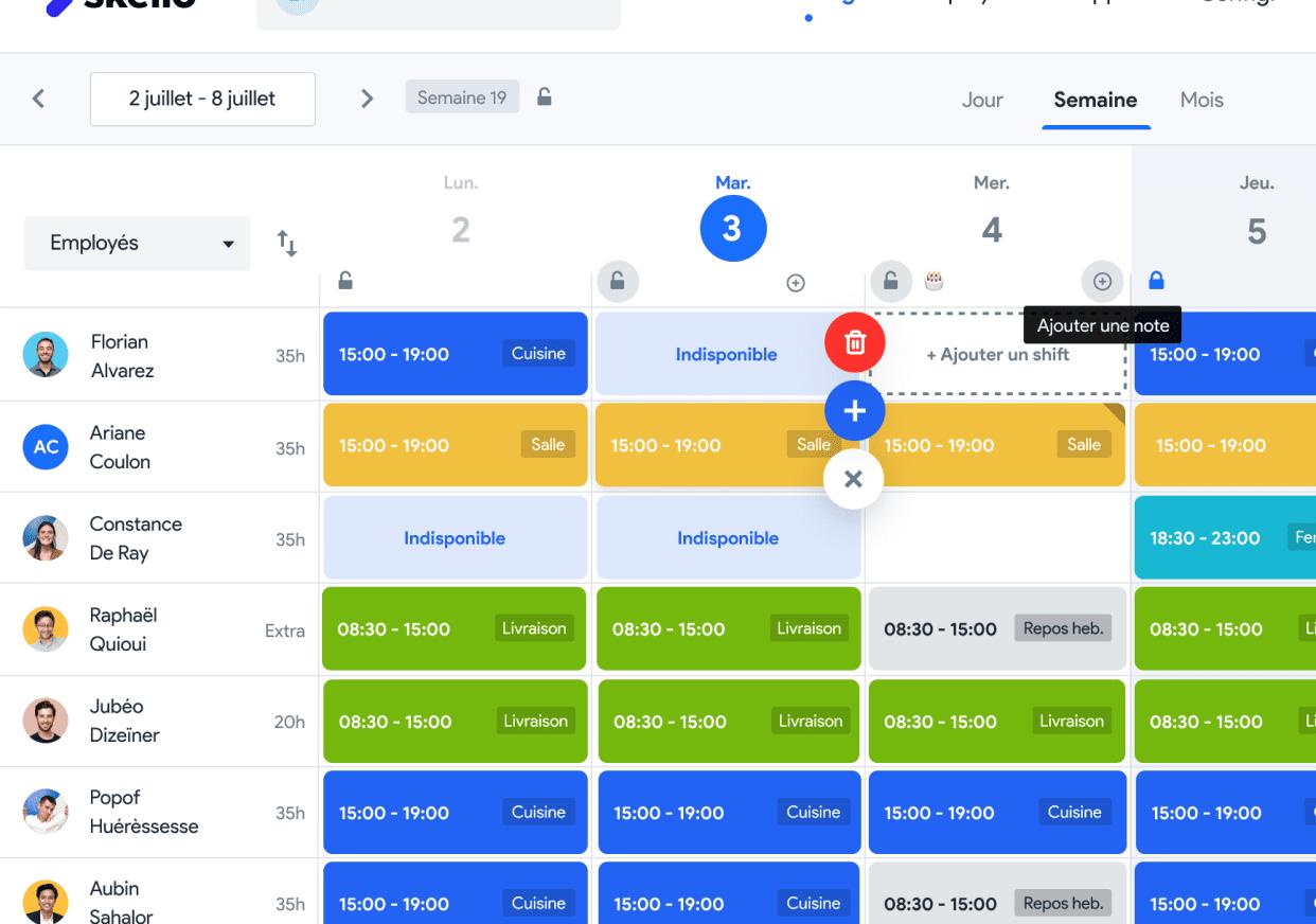Skello screenshot: Skello planning dashboard