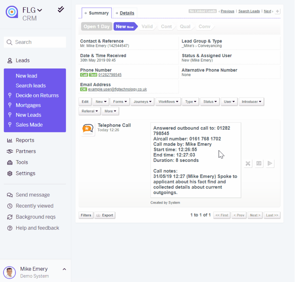 FLG call notes and recordings