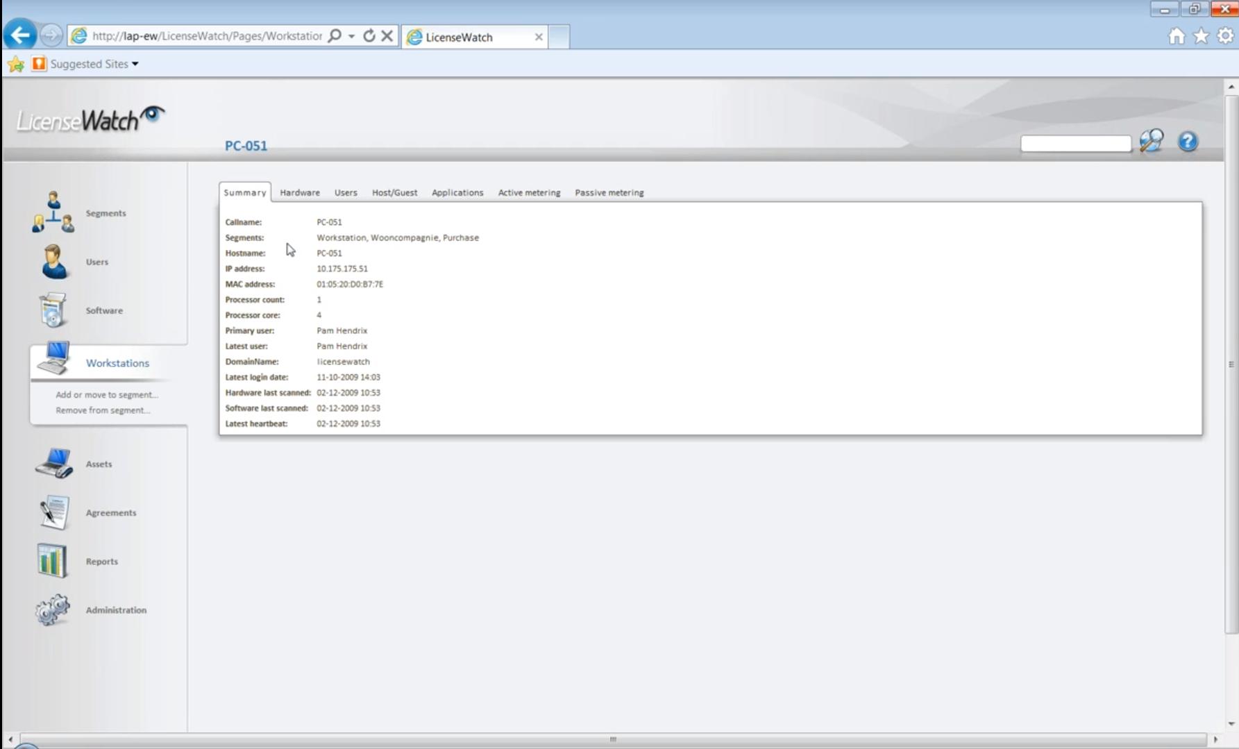 LicenseWatch workstation summary