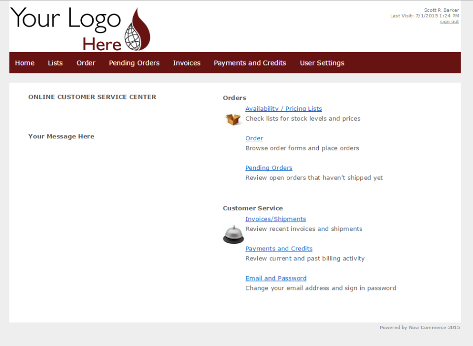 Now Commerce customer portal