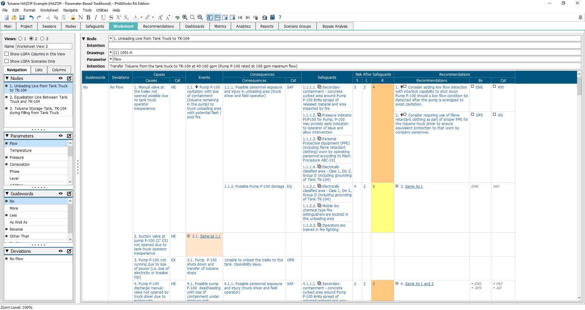 PHAWorks managing worksheets