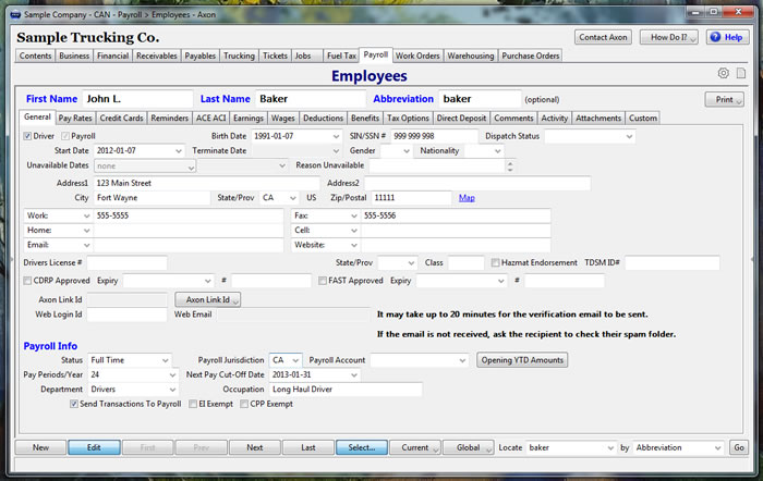 Manage employee details with Axon Trucking Software
