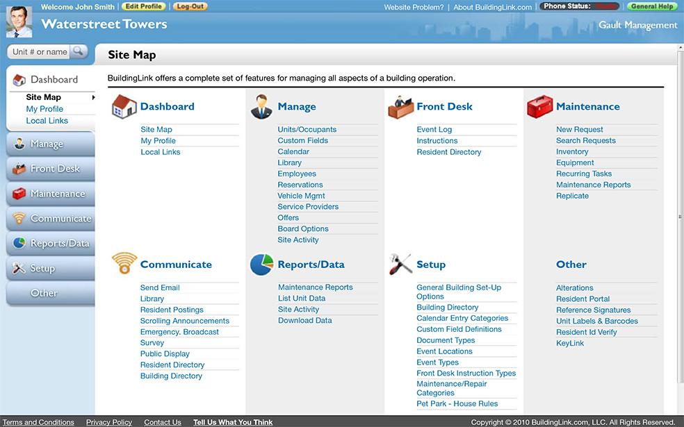 BuildingLink Software - Site map