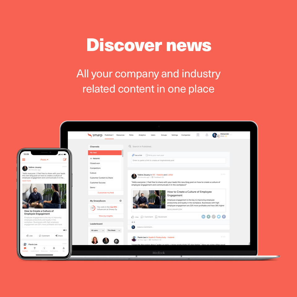 Allow employees to receive and discover relevant content in a familiar, news feed format