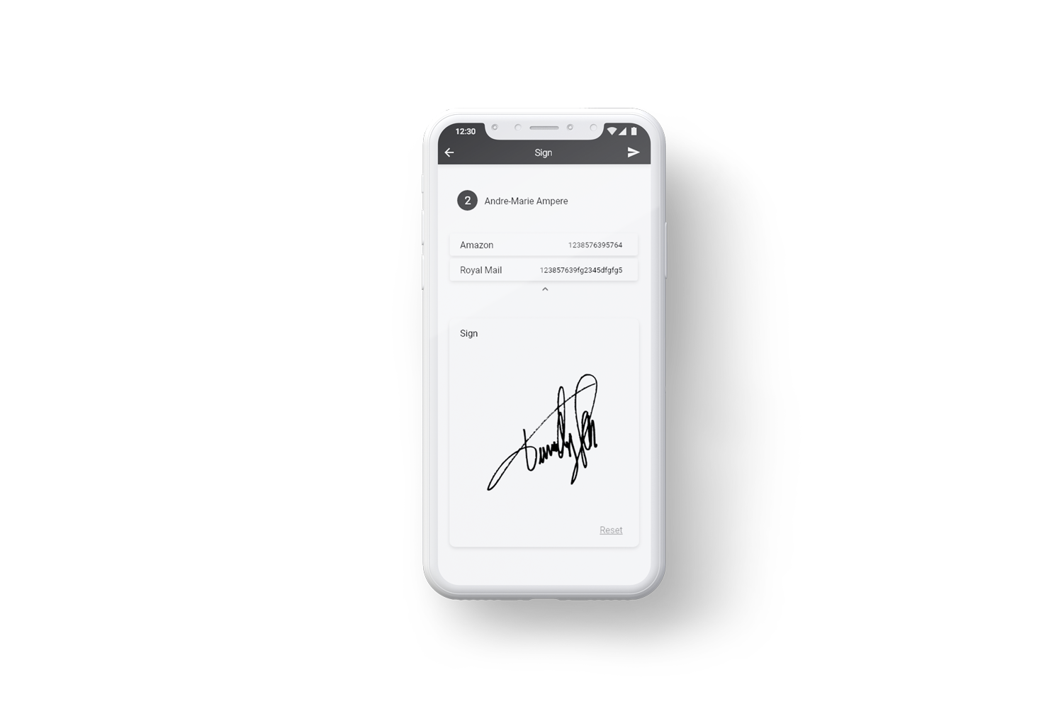 Collect e-signatures for proof of collection/delivery