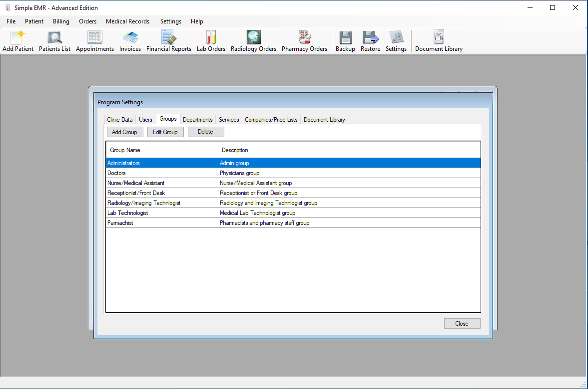 Program Settings section which allows configuration of clinic data, user and group permissions, services, companies, and price lists, As well as medical and administrative document libraries.