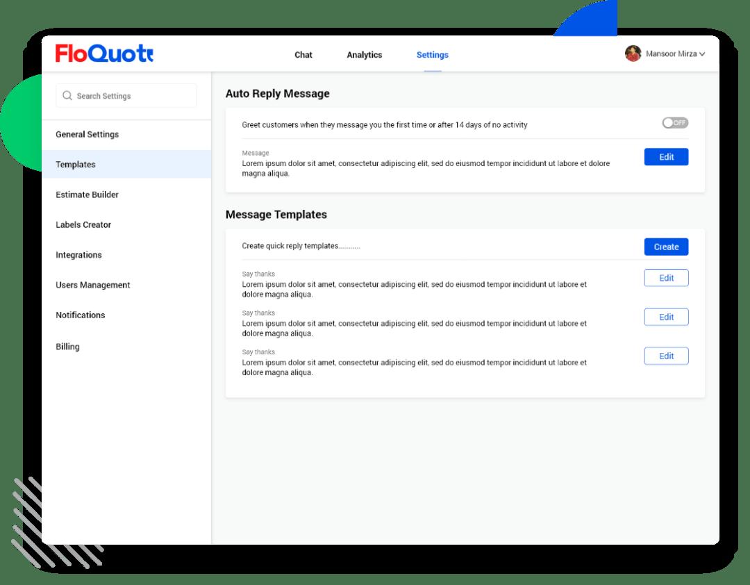 FloQuote messaging platform support