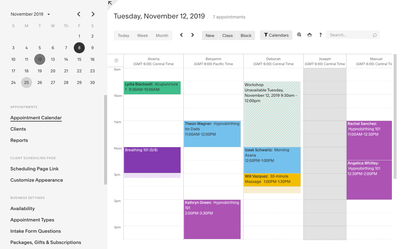 View and manage appointments on a color-coded calendar, with day, week and month views