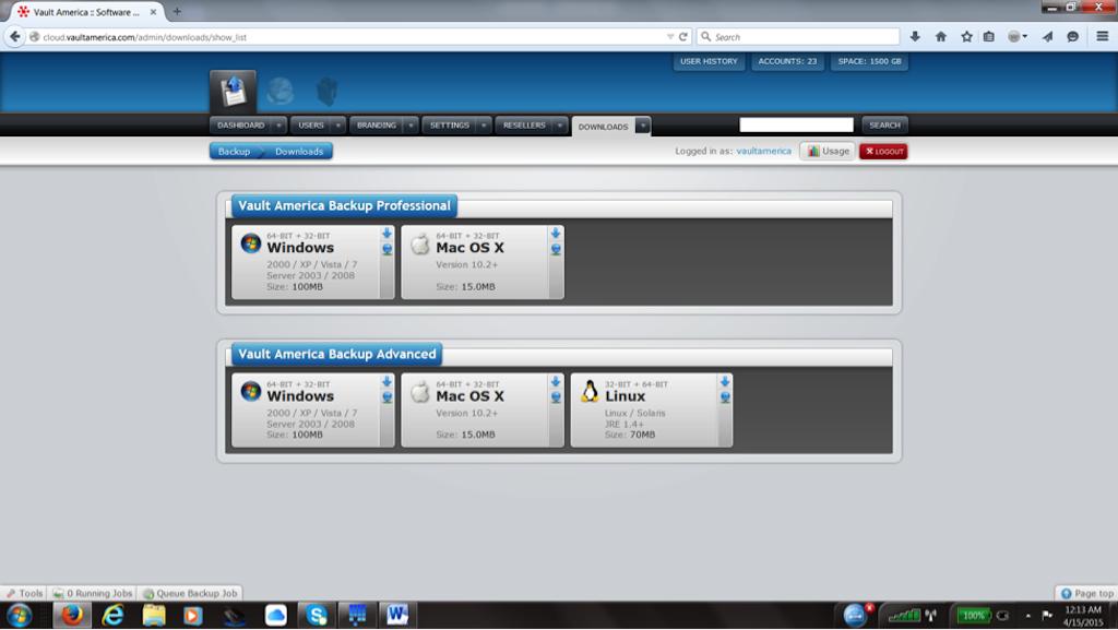 Vault America Online/ Cloud Backup Software - Download