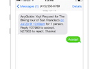 AnyRoad screenshot: Receive SMS notifications about bookings